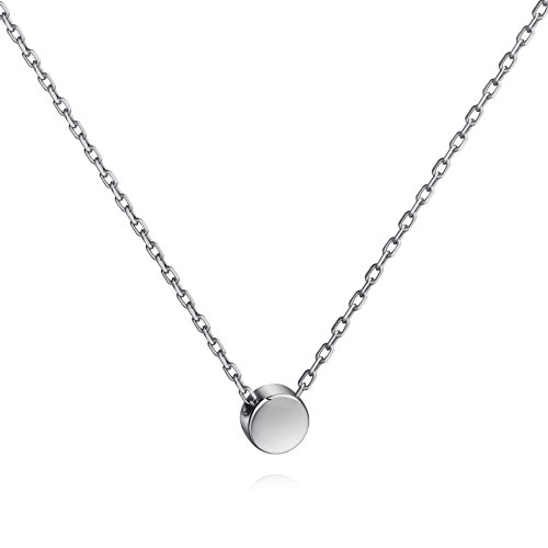 Tiny Dot Necklace Sterling Silver Floating Disc Circle Pendant Minimalist Necklace (silver)