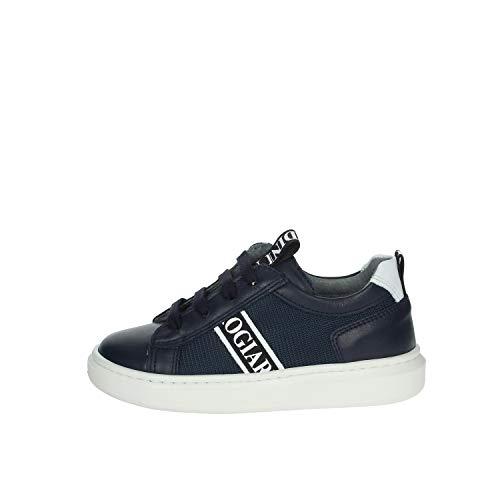 Zapatillas deportivas negras Giardini para niños de piel con cordones I023922M azul o blanco Un calzado cómodo adecuado para todas las ocasiones. Otoño invierno 2021. Azul Size: 30 EU