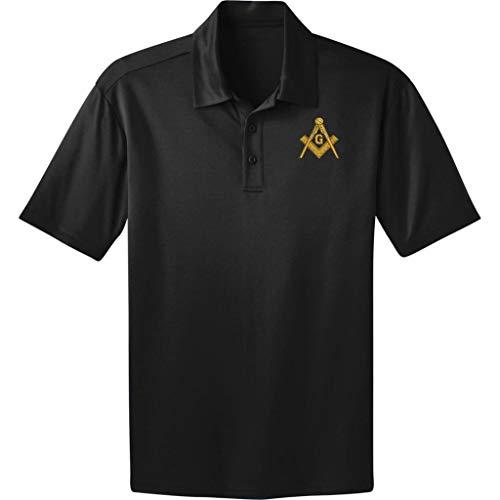 Dri-Fit Black Polo Shirt Free Mason Masonic Logo 3XL