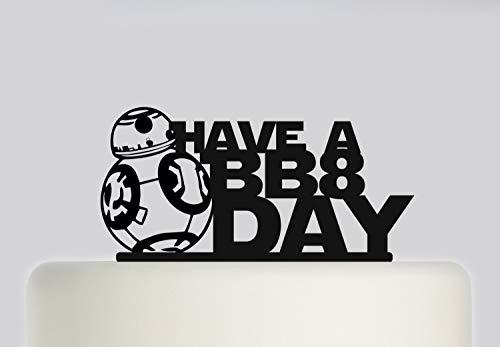 Decoración para tarta de cumpleaños, diseño de Robort BB8 Have a BB8 Day, acrílico para tarta con texto en inglés 'Happy Birthday'. 170, boda cumpleaños