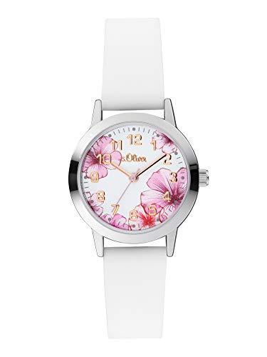 s.Oliver Mädchen Analog Quarz Uhr mit Silicone Armband SO-4076-PQ