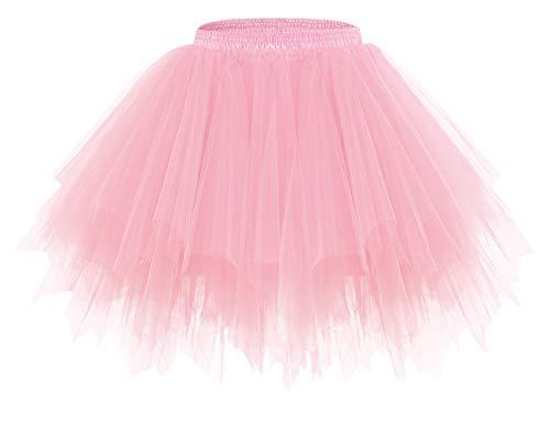 bridesmay Damen Tüllrock 50er Tütü Rock Kurz Ballett Unterrock Karneval Kostüm Crinoline Petticoat Tutu Rosa Light Coral M