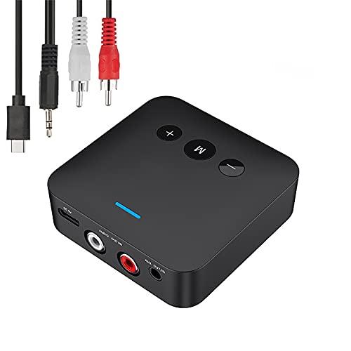 LIXUE Receptor y Transmisor Bluetooth 5,0, Tarjeta TF, Estéreo, Jack de 3,5mm, AUX, RCA, Adaptador de Audio Inalámbrico para TV y Coche, Kit de Auriculares
