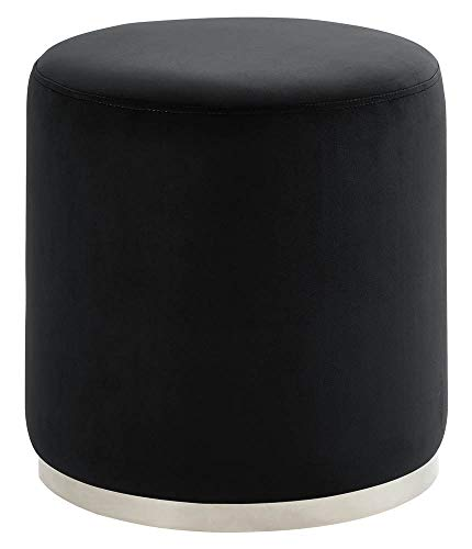 Velvet Round Ottoman, Black and Silver