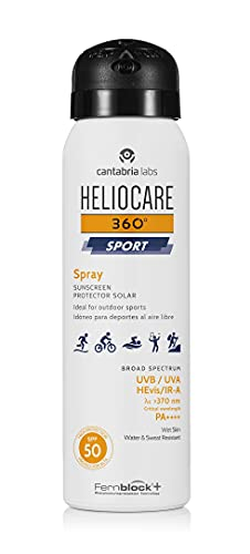 Heliocare 360º Sport Spray SPF50, 100 ML- Spray fotoprotector para deportistas, Fácil de extender, efecto refrescante, para todo tipo de pieles, 100ML