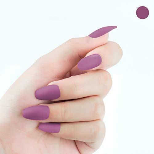 Beashine Künstliche Nägel, Falsche Nägel, 24 Natürliche Französisch Acryl Künstliche Gefälschte Falsche Nägel Kunst Tipps mit Box für Damen, Mädchen Nägel für Nagel-Salons & DIY-Nailart(620 fuchsia)