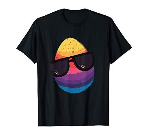 Divertido huevo de Pascua retro con gafas de sol Camiseta