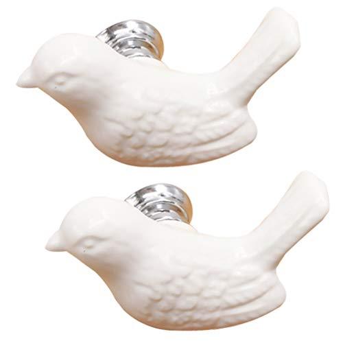 CLISPEED 2 Stück Keramik-Knöpfe in Vogelform, Schubladengriffe, dekorative Möbel, Hardware, Heimdekoration für Schrank, Kleiderschrank, Tür, Schublade, Schrank, weiß