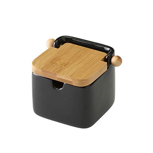Azucarero/Salero Cerámica Negro Tapa Bambú -250 ml- 8x10,5x8 cm