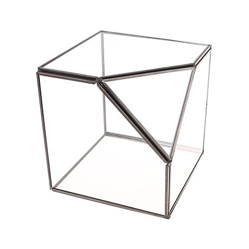 COMEYER Caja de almacenamiento moderna para terrario de cristal transparente con diseño geométrico para plantas suculentas, portavelas votivo decorativo (negro)
