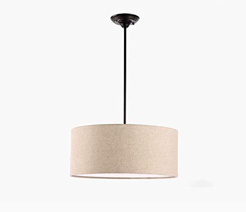 Luces Colgantes Tela Moderna Lámpara Colgante Cilíndrica De Techo, Lámpara Araña con Pantalla Tambor para Dormitorio Comedor Sala De Estar, 3 Cabezas, E27 (Sin Fuente De Luz),Linen