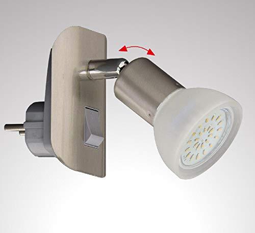 Trango 11-042 LED Steckerleuchte im Edelstahl-Look mit Glas-Lampenschirm, Stecker-Nachtlicht inkl. 1x GU10 LED Leuchtmittel 3000K warmweiß & Ein-/Aus-Schalter Leselampe, Küchenlampe