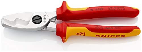 KNIPEX 95 16 200 Kabelschere mit Doppelschneide isoliert mit Mehrkomponenten-Hüllen, VDE-geprüft 200 mm
