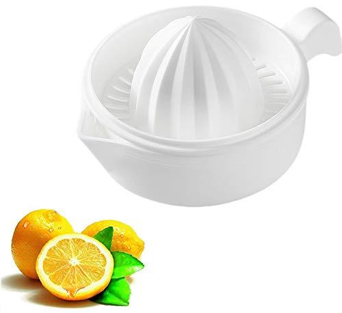 Manual Lemon Squeezer,Orange Juice Squeezer, Citrus Orange Manual Hand Juicer Lid Rotation Press Anti-Slip Reamer with Strainer,Non-Slip Silicone Handle,White Color