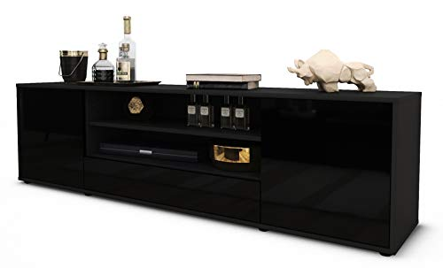 Stil.Zeit TV Schrank Lowboard Armida, Korpus in anthrazit matt/Front im Hochglanz-Design Schwarz (180x49x35cm), mit Push-to-Open Technik und hochwertigen Leichtlaufschienen, Made in Germany
