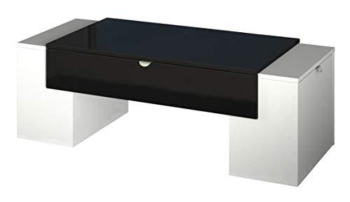 Berlioz Creations Lucky Table Basse Noir Brillant/Blanc, 123 x 55 x 42 cm, Fabrication 100% Française