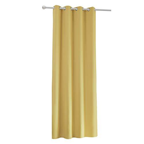 Laneetal Cortinas de Salón Moderno Opacas Aislantes luz Suaves(1 Pieza) Evitar Rayos UV Proteccion Privacidad con Ojales para Salon Cocina Habitacion 135x245cm Color Amarillo