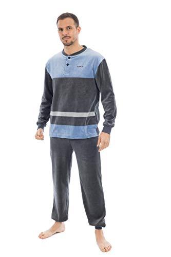 MUSLHER Pijama para Hombre listado Gris (XL, Azul
