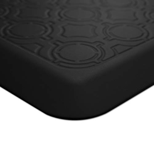 "USA Mats Anti-Fatigue Comfort Floormat Non-Toxic 100% Pure Polyurethane Non-Slip 3/4""- Ergonomic Support Kitchen, Vanity, Office, Standing Desks - Made in America - 20""x32' (Black, Motif)"