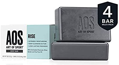 Art of Sport Body Bar Soap (4-Pack), Rise Scent, with Activated Charcoal, Tea Tree Oil, and Shea Butter, 3.75 oz