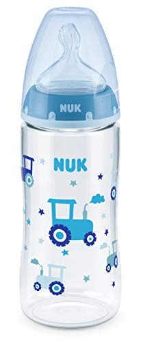 NUK First Choice+ Babyflasche | mit Temperature Control Anzeige | 300ml | 6-18 Monate | Anti-Colic | BPA Frei | blau (Traktor)