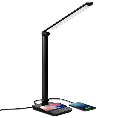 UPERCT デスクライト LED ワイヤレス充電対応 目に優しい 7段階調光 5段階調色 700ルーメン タイマー メモリー機能 勉強 読書 子供用 電気スタンド 卓上ライト (ブラック)