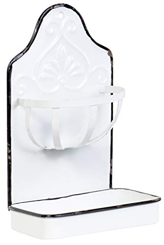 Red Co. Bathroom Metal Wall-Hanging Soap and Sponge Holder Dish, Solid White/Black Rim, 9.75 Inches