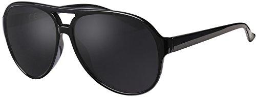 Sonnenbrille Herren Polarisiert La Optica UV400 Retro Pilotenbrille Fliegerbrille - Glänzend Schwarz (Grau Polarisierte Gläser)