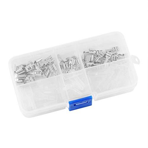 120Pcs 2.8mm 4.8mm 6.3mm Terminales de crimpado Conectores de pala hembra Terminales de kit de funda aislante con caja transparente - Plateado y transparente