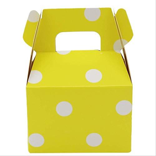 FHFF Papiertüten, 12 Stück, gepunktet, für Süßigkeiten, Geschenktüten, Schokoladenverpackung, Kindergeburtstag, 8 x 10 cm, Gelb mit Punkten