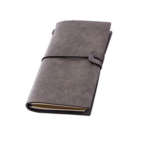 RAEADLIFE Diario de viaje A5 de piel, cuaderno rellenable, diario vintage, diario de viaje, cuaderno de bocetos, cuaderno de anillas, cuaderno de notas, cuaderno de notas, papel de estraza, blanco