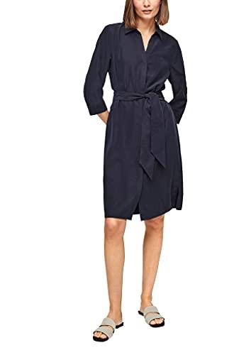s.Oliver BLACK LABEL Damen Blusenkleid mit Bindegürtel dark navy 46