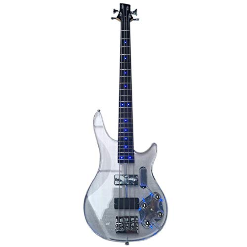 KEPOHK Acrylic Body Electric Bass Guitar With Blue Light
