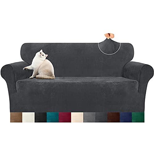 Luxurlife Dicke Samt Sofabezug 1 Stück High Elastischer Antirutsch Couchbezug 3 Sitzer Möbelschutz mit elastischem Boden für Wohnzimmer(3 Sitzer,Grau)