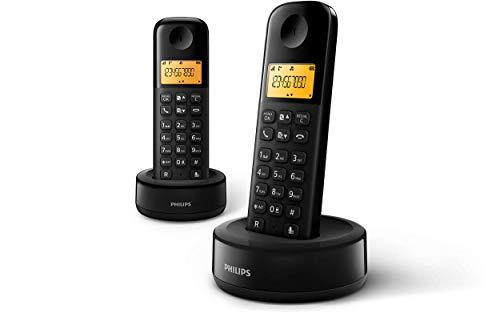 Philips D1602B/01 - Téléphone DECT sans Fil avec 2 Combiné, Grand Écran (4,1 cm) et Identification de l'Appelant - Noir