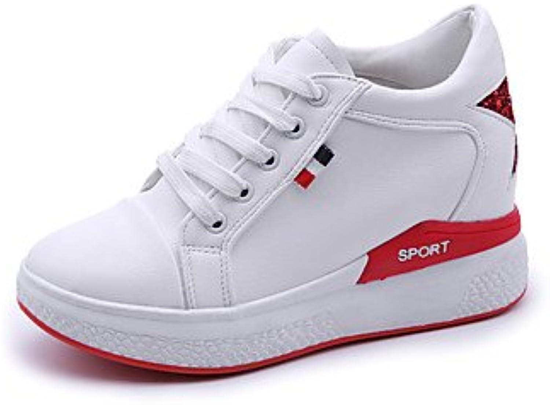LvYuan-GGX Damen High Heels Komfort Formale Formale Schuhe PU Herbst Normal Kleid Walking Komfort Formale Schuhe Schnürsenkel Keilabsatz Schwarz Rot Grün5 -, Grün, us6.5-7   eu37   uk4.5-5   cn37  keine Steuer