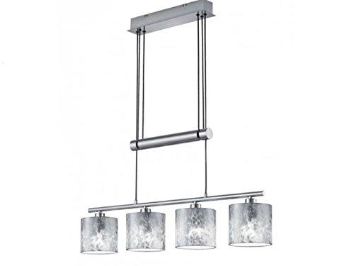 Höhenverstellbare 4 flammige LED Balken Pendelleuchte mit Stoffschirmen in Silber - Hängeleuchte für eine Moderne Deckenbeleuchtung