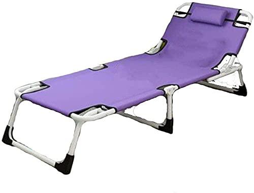 Sillones reclinables para exteriores, plegables, para tumbonas, cama individual, cama de siesta, sofá de oficina, sofá simple, morado (color: morado)