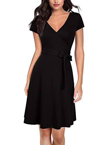 KOJOOIN Damen Kleid Business Kleid Knielang Wickelkleid, 3/4 Arm mit V-Ausschnitt und GrtelVerpackung MEHRWEG