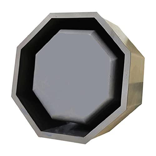 Maceta octogonal de cemento, molde de silicona para manualidades, decoración, herramientas, almacenamiento, resina epoxi, soporte para macetas, geométrico, negro, metal, hierro, jarrón