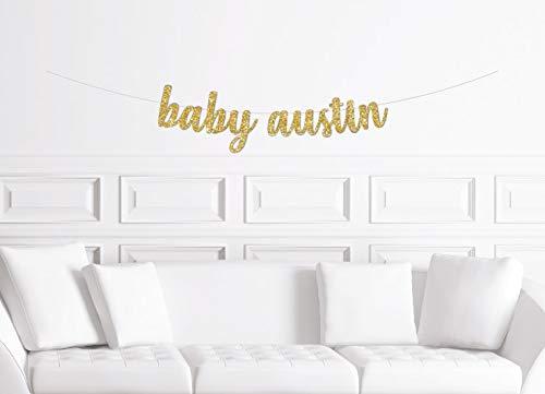 Personalizado Cursive Baby Shower Banner Personalizado Nuevo Boy Gold Glitter Sign Personalizado Baby Sign Baby Shower Sip N See Meet El bebé