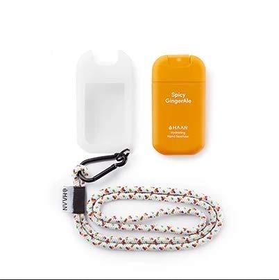 HAAN Desinfectante de Manos Dispensador + Accesorio para Colgar | Higienizante e Hidratante en Spray con ALOE VERA | Dispensador Recargable | Cordón y Funda para Colgar en el Cuello | 30 ml |GingerAle