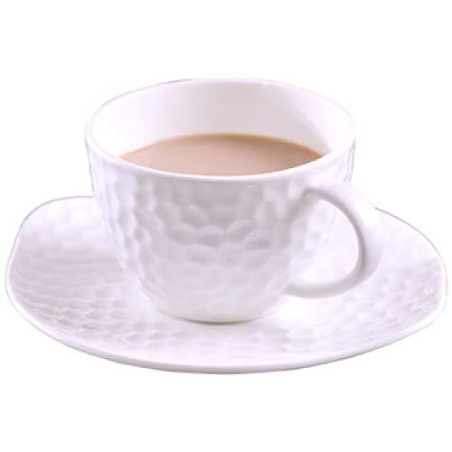 Tasse Hotel Becher Weiblich Cafe Männlich Knochen Porzellan Kaffeetasse Untertasse Set Hochwertiges Reinweiß Geprägte Europäische Keramik Milch Tasse Blumen Tasse Reinweiß 200ml