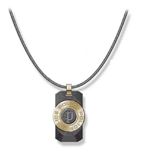 Police Collar Hombre - Cadena de Acero Negro con Colgante - PJ.26567PSG-03