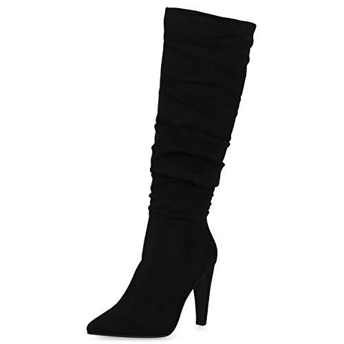 SCARPE VITA Damen High Heels Stiefel Leicht Gefütterte Stiletto Slouch Boots Wildleder-Optik Schuhe Klassische Absatzschuhe 186345 Schwarz 38