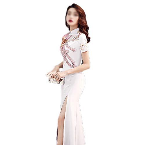 MYW Chinese Stijl Lange Kraag Geborduurde Cheongsam Vissenstaart Taille Strakke Jurk Vrouwen