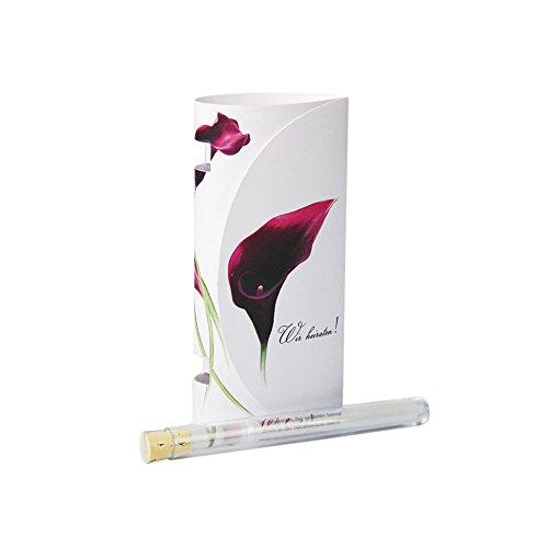 Hochzeitseinladung Calla, 3er-Set - Originelle Einladungskarte in einem schmalen Korkenglas - inklusive gepolstertem Briefumschlag