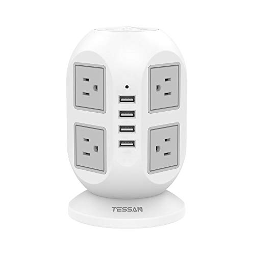 Power Strip Tower TESSAN Surge Protector 8 AC Outlets with 4 USB Ports Charging Station Long Extension Cord 10 Feet, Widely Spaced Multi Outlets, Circuit Breaker Safeguard for Home Office Dorm Room