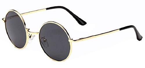 KIRALOVE Gafas de sol redondas - hippie - Retro - Hippie - Idea regalo - años 70 - ovaladas - cumpleaños - vintage - lente oro montura negra