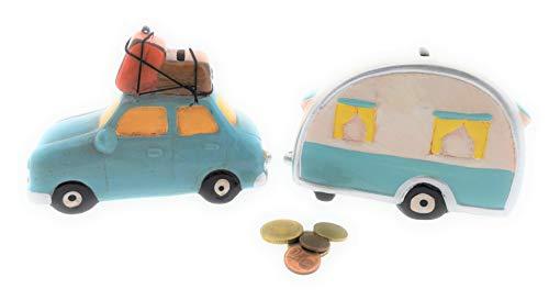 MC Trend set van 2 spaarpot auto met caravan-aanhanger van keramiek vakantie-reismok geldcadeau-idee camper decoratie